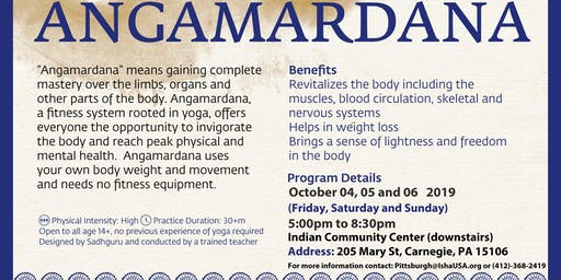 Hatha Yoga - Angamardana October 04,05 and 06 2019