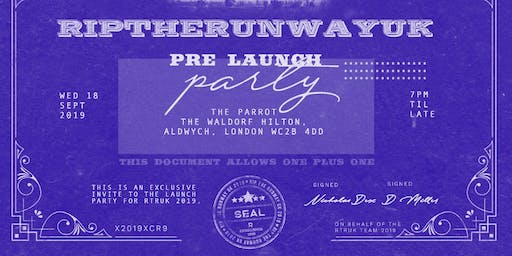 RIP THE RUNWAY UK PRE PARTY