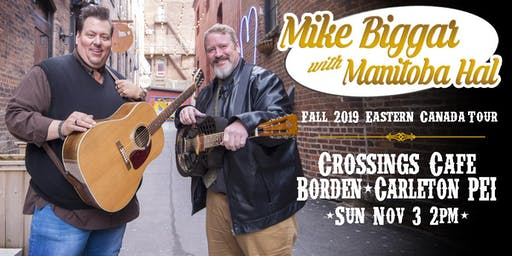 Mike Biggar with Manitoba Hal at Crossings Cafe