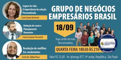 18-09 Reunião do grupo de negócios- Empresários Brasil   ingressos