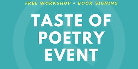 Taste of Poetry Workshop + Book Signing at RASA tickets