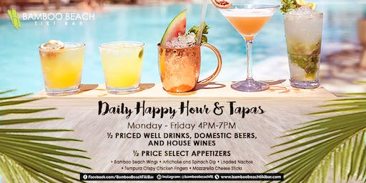 Daily Happy Hour - 50% OFF on Drinks and Appetizers!