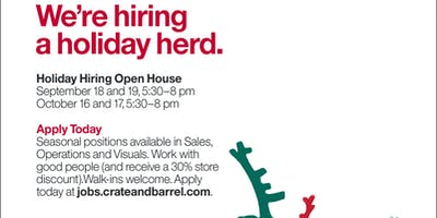Crate and Barrel Holiday Hiring Open House