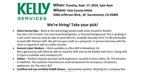 Kelly Services Recruitment tickets
