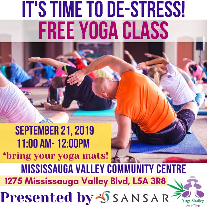 Free Yoga Class presented by SANSAR Tickets, Sat, 21 Sep