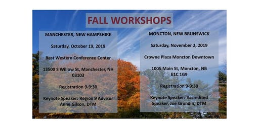 Toastmasters District 45 2019 Manchester Fall Workshop