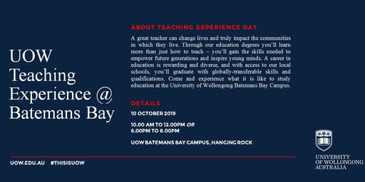 UOW Batemans Bay Teaching Experience Day: Experience Your Future