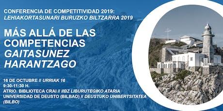 Conferencia de Competitividad del País Vasco 2019EAEko Lehiakortasunari buruzko 2019ko biltzarra entradas