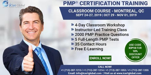 PMP® Certification Training Course in Montreal, QC | 4-Day PMP® Boot Camp with PMI® Membership and PMP Exam Fees Included.