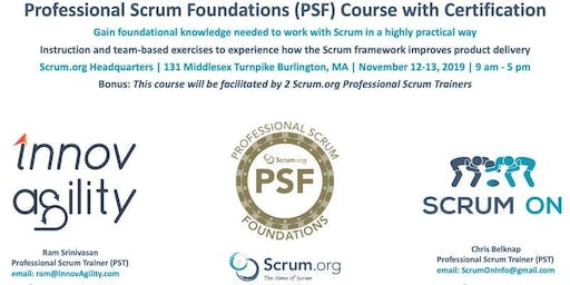 Scrum.org Professional Scrum Foundations (PSF) - Boston MA  - November
