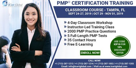 PMP® Certification Training Course in Tampa, FL   4-Day PMP® Boot Camp with PMI® Membership and PMP Exam Fees Included. tickets