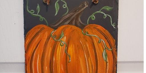 Pumpkins on Slate at the Covered Bridge Inn