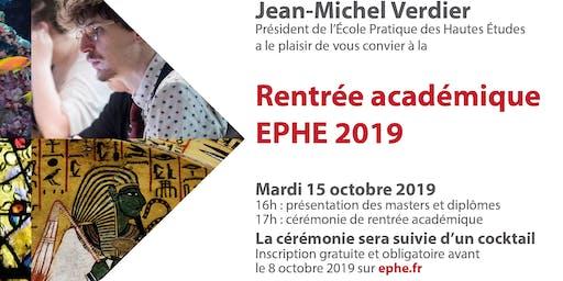 Rentrée académique EPHE 2019