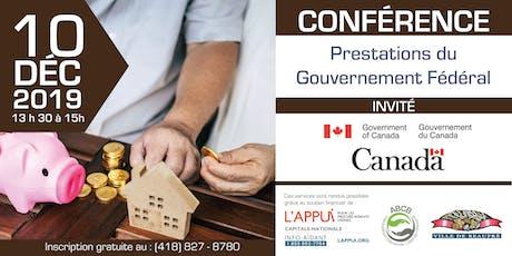 Conférence : Prestations du Gouvernement Fédéral tickets