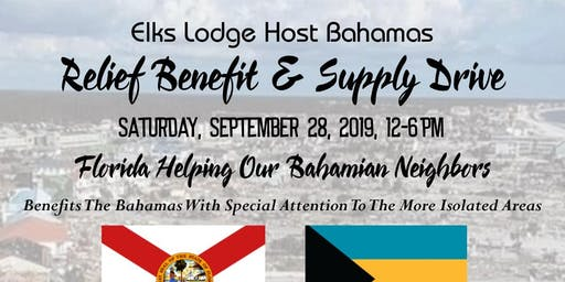 Bahamas  Relief Benefit & Supply Drive Host At The Jupiter Elks on 9/28