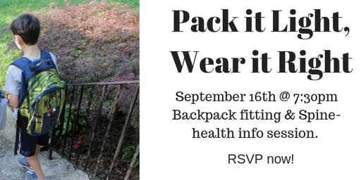 Pack it light, wear it right! Backpack fitting