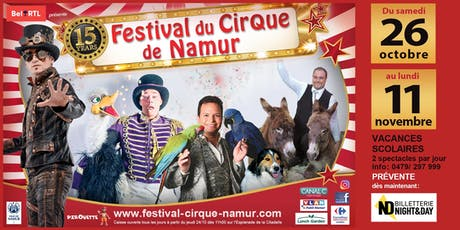 Festival du Cirque de Namur 2019 - Samedi 26/10 14h00 billets
