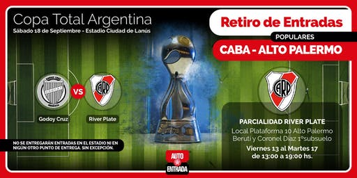 POPULAR RIVER PLATE - GODOY CRUZ vs RIVER PLATE - RETIRA ALTO PALERMO SHOPPING