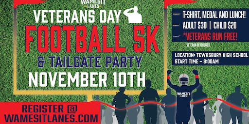 Veterans Day Football 5K & Tailgate Party - Veterans Run Free