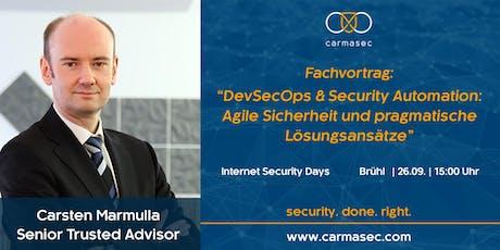 """Fachvortrag: """"DevSecOps & Security Automation: Agile Sicherheit und pragmatische Lösungsansätze"""" tickets"""