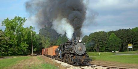 Trains Magazine photo freight on Texas State Railroad tickets
