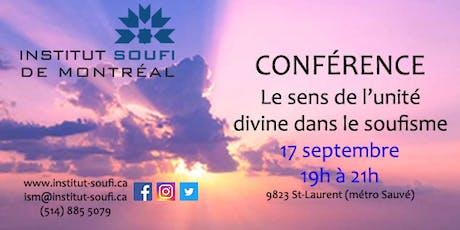 Conférence: Le sens de l'unité divine dans le soufisme billets