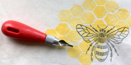 Block printing onto fabric workshop with Rowan Tree Print tickets