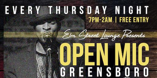 Open Mic Greensboro @ElmStreetLounge | Live Band |DJ  | Free Entry