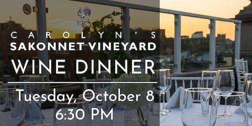 Sakonnet Vineyard Wine Dinner at The Rooftop