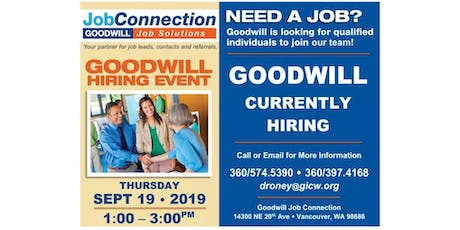 Goodwill is Hiring - Salmon Creek/ Vancouver - 9/19/19 tickets