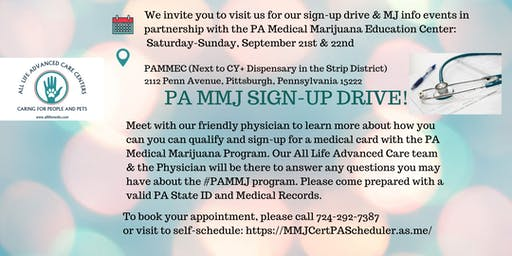 PA MEDICAL MARIJUANA CERTIFICATION SIGN UP AND EDUCATIONAL CLINIC