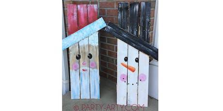 2 sided wooden pallet snowman Santa  - Creative Paint & Sip Maker Class  tickets