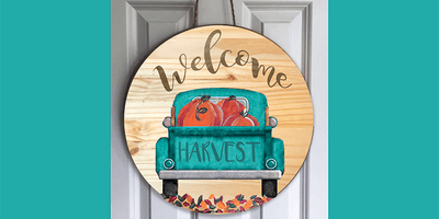 Teal Truck on Round Wooden Sign -  Paint Create and Sip Party Art Maker Class