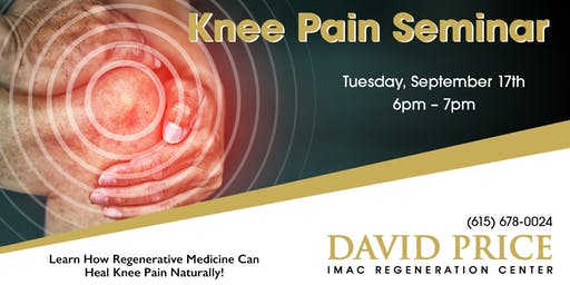 David Price Center Knee Pain Seminar - 9/17