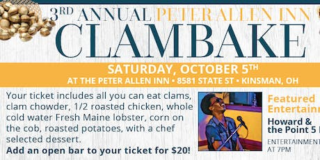Annual Clambake at PAI with Howard and Point Five Band tickets