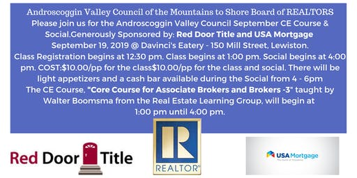 Androscoggin Valley Council September CE CORE Course & Social!
