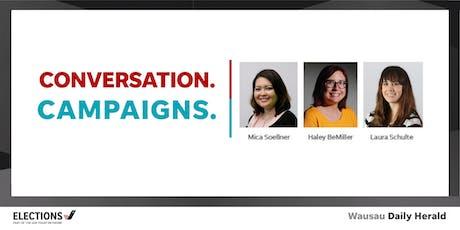 Happy Hour. Conversation. Campaigns tickets