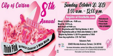 City of Carson's 8th Annual Think Pink Breast Cancer 3 mile walk/run tickets