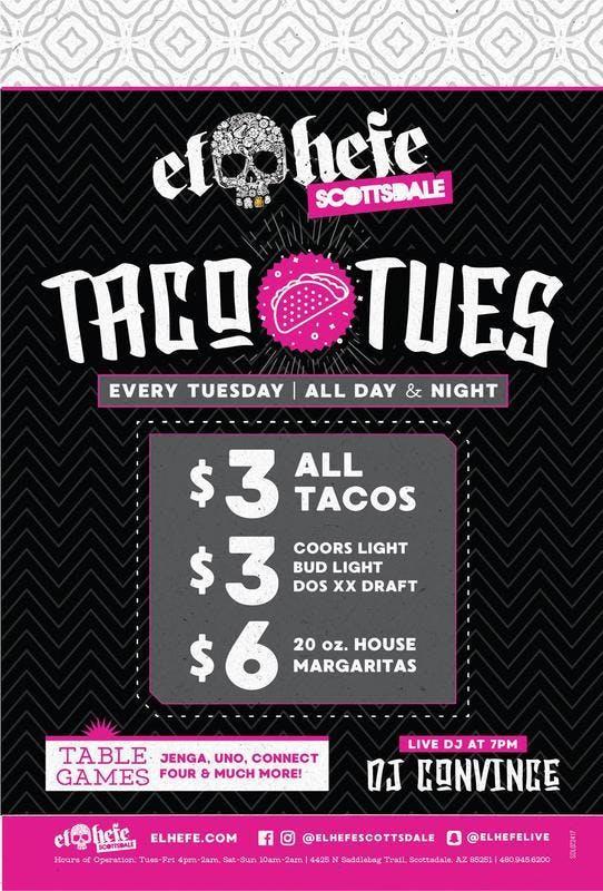 Taco Tuesdays at El Hefe Free Guestlist - 10/01/2019