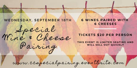 Special Wine & Cheese Pairing tickets