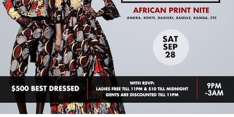 This is Afrika; African print nite [$500 Best dressed] tickets
