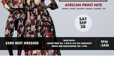 This is Afrika; African print nite- Afrobeats, Hiphop, Reggae [$500 Best dressed] tickets