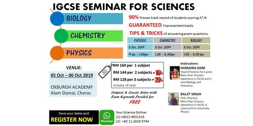 IGCSE Seminar for Science (Biology, Chemistry, Physics)