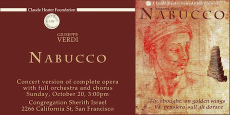 Giuseppe Verdi's NABUCCO concert version of complete opera with full orchestra and chorus tickets