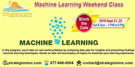 Machine learning weekend training in Fremont-Sept 21,22-2019