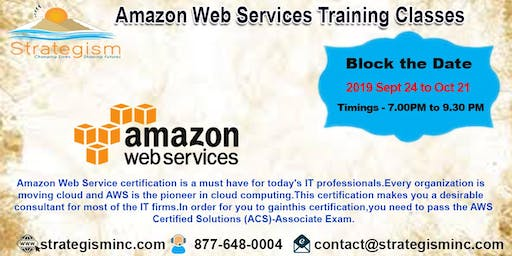 Amazon web services training in Fremont-Sept 24 to Oct 21-2019