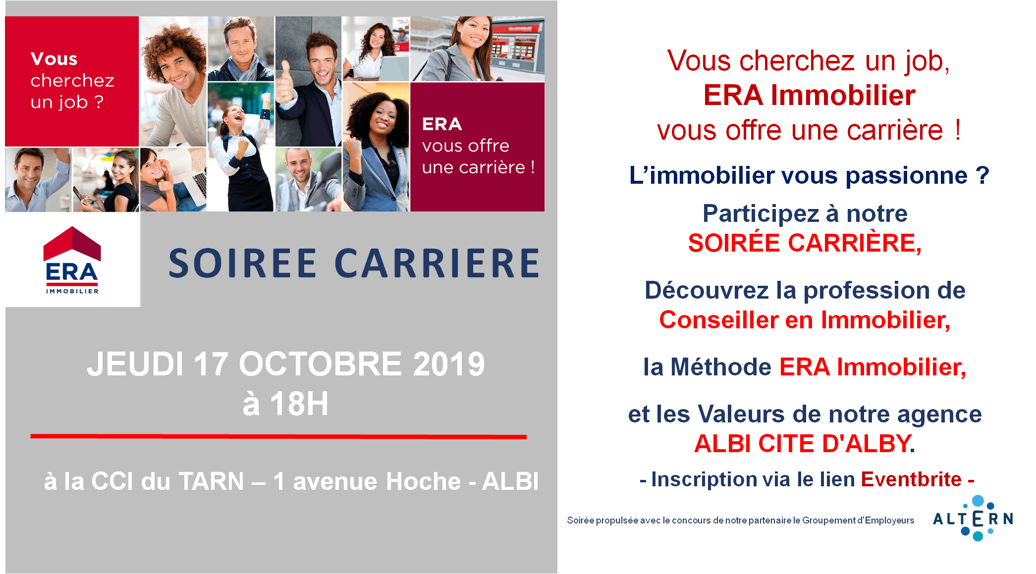 SOIREE CARRIERE ERA IMMOBILIER CITE DALBY