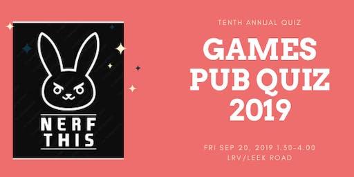 Games Pub Quiz 2019