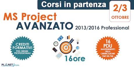 Corso Avanzato di Microsoft Project 2013/2016 Professional - 16 ore biglietti