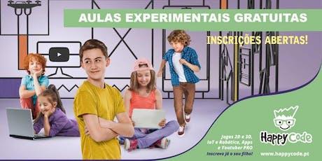 Aula experimental gratuita de Programação de Jogos (6-12 anos) - Happy Code Oeiras  bilhetes